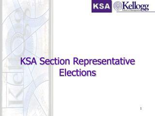 KSA Section Representative Elections