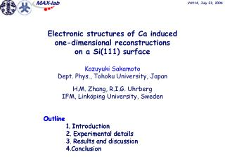 Electronic structures of Ca induced  one-dimensional reconstructions on a Si(111) surface