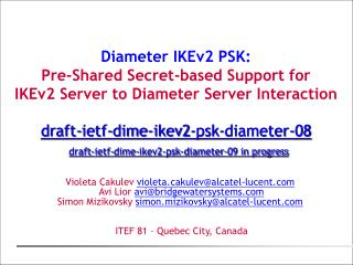 Diameter IKEv2 PSK