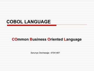 COBOL  LANGUAGE