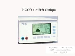 PiCCO  : intérêt clinique