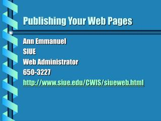 Publishing Your Web Pages
