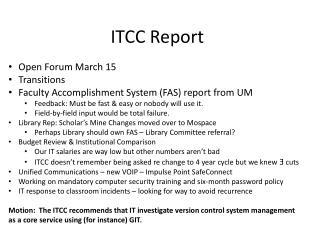 ITCC Report