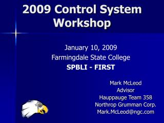 2009 Control System  Workshop