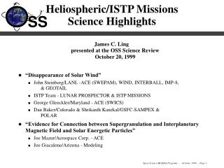 Heliospheric/ISTP Missions Science Highlights