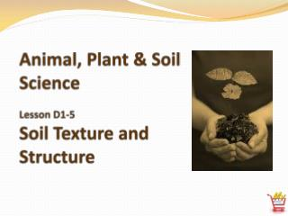 Animal, Plant & Soil Science Lesson D1-5 Soil Texture and Structure