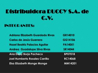 Distribuidora DUCCY S.A. de C.V.