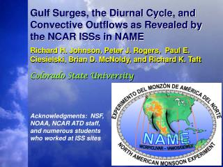 Gulf Surges, the Diurnal Cycle, and Convective Outflows as Revealed by the NCAR ISSs in NAME