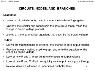 CIRCUITS, NODES, AND  BRANCHES