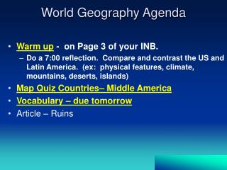World Geography Agenda