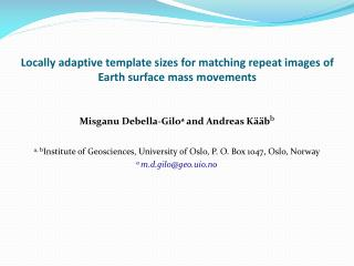 Locally adaptive template sizes for matching repeat images of Earth surface mass movements