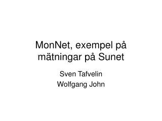 MonNet, exempel på mätningar på Sunet
