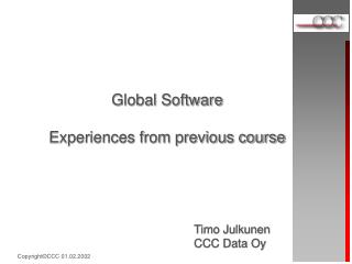Global Software Experiences from previous course