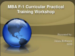 MBA F-1 Curricular Practical Training Workshop