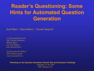Reader's Questioning: Some Hints for Automated Question Generation