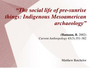 Mesoamerica (Context)