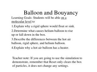 Balloon and Bouyancy