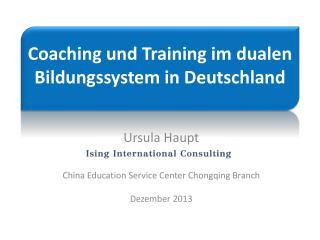Coaching und Training im dualen Bildungssystem in Deutschland