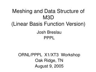 Meshing and Data Structure of M3D (Linear Basis Function Version)