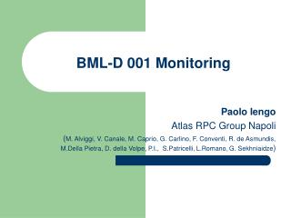 BML-D 001 Monitoring
