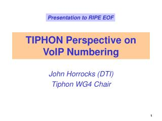 TIPHON Perspective on VoIP Numbering
