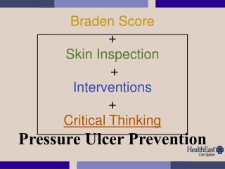 Braden Score +  Skin Inspection  + Interventions +  Critical Thinking Pressure Ulcer Prevention