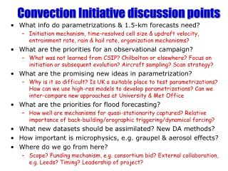 Convection Initiative discussion points