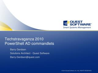 Techstravaganza 2010 PowerShell AD commandlets