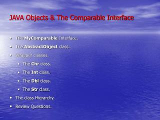 JAVA Objects & The Comparable Interface