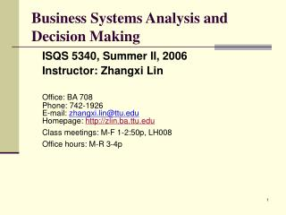 Business Systems Analysis and Decision Making