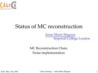 Status of MC reconstruction