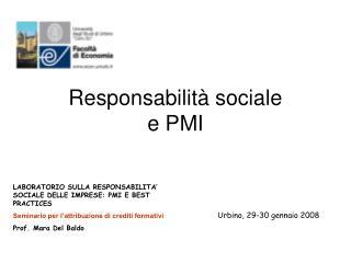 Responsabilit� sociale             e PMI