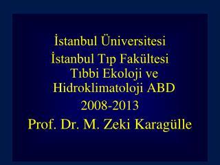 İstanbul Üniversitesi İstanbul Tıp Fakültesi  Tıbbi Ekoloji ve Hidroklimatoloji ABD 2008-2013