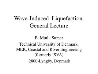 Wave-Induced  Liquefaction. General Lecture
