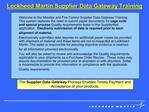 Lockheed Martin Supplier Data Gateway Training