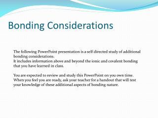 Bonding Considerations
