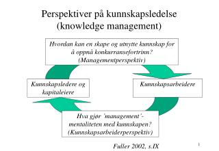 Perspektiver på kunnskapsledelse (knowledge management)
