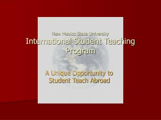 New Mexico State University International Student Teaching Program