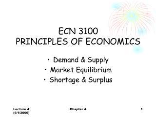 ECN 3100  PRINCIPLES OF ECONOMICS