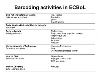 Barcoding activities in ECBoL