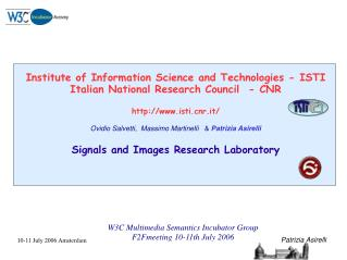 Institute of Information Science and Technologies - ISTI Italian National Research Council  - CNR
