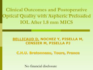 Clinical Outcomes and Postoperative Optical Quality with Aspheric Preloaded IOL After 1.8 mm MICS