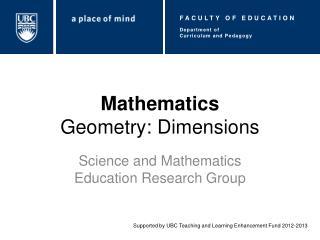 Mathematics Geometry: Dimensions