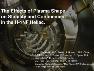 The Effects of Plasma Shape on Stability and Confinement in the H-1NF Heliac.