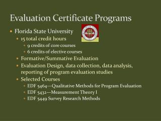 Evaluation Certificate Programs