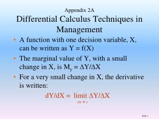 Appendix 2A Differential Calculus Techniques in Management