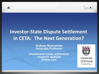 Investor-State Dispute Settlement in CETA:  The Next Generation?