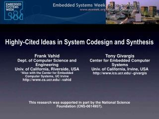 Highly-Cited Ideas in System Codesign and Synthesis