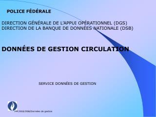 SERVICE DONNÉES DE GESTION