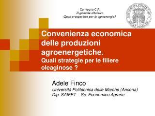 Convenienza economica delle produzioni  agroenergetiche. Quali strategie per le filiere oleaginose